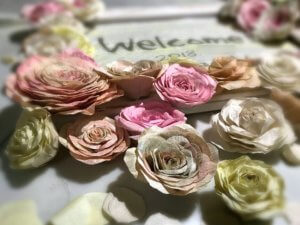 Welcomeboard 2018 和紙のバラのウェルカムボード