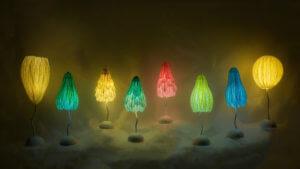 パルプアートのしわがみランプ     Lamp of japanesepaper pulpart