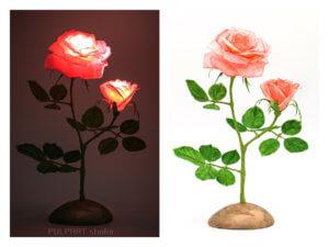 和紙の光る薔薇